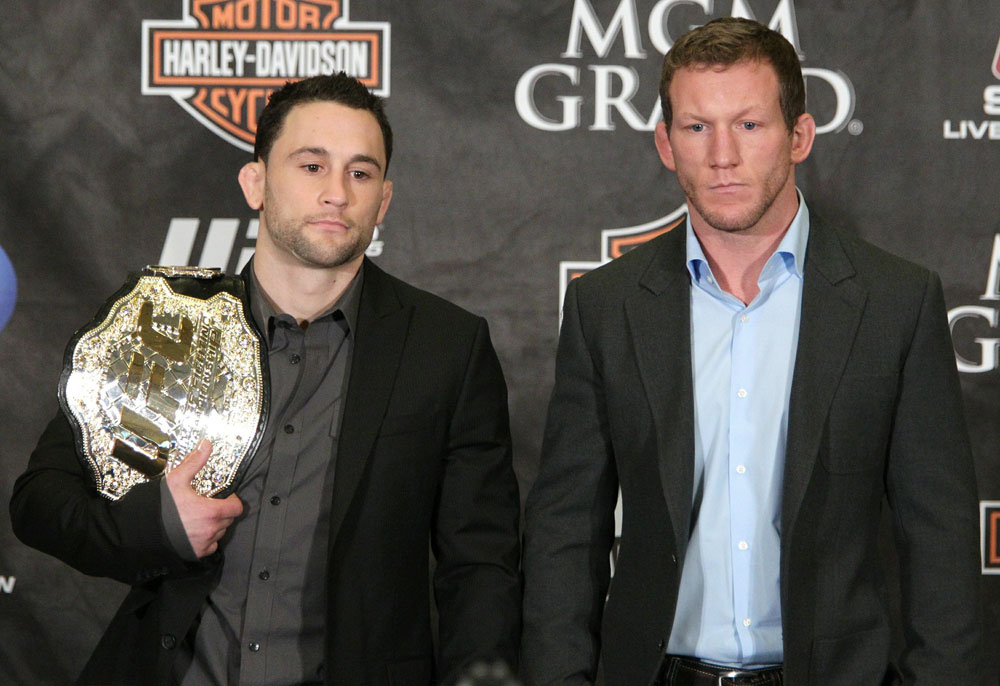 Champ <a href='../fighter/Frankie-Edgar'>Frankie Edgar</a> and challenger <a href='../fighter/Gray-Maynard'>Gray Maynard</a> pose together at a pre-fight press conference before <a href='../event/UFC125'>UFC 125