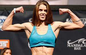 Jessamyn Duke weighs in during the weigh-in for The Ultimate Fighter season 18 live finale on November 29, 2013 in Las Vegas, NV. (Photo by Josh Hedges/Zuffa LLC)