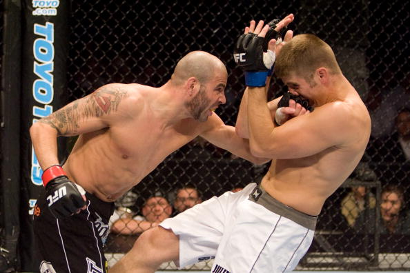 Ben Saunders (black shorts) def. Ryan Thomas during the UFC 87 Seek and Destroy  on August 9,2008 in Minneapolis, MN. (Photo by: Josh Hedges/Zuffa LLC)