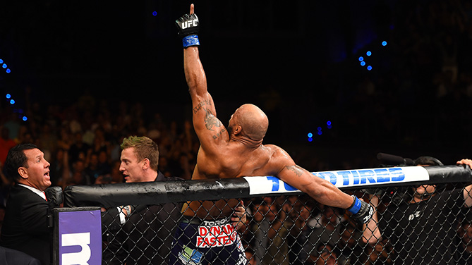 Yoel Romero of Cuba celebrates after defeating Lyoto Machida of Brazil in their middleweight during the UFC Fight Night event at the Hard Rock Live on June 27, 2015 in Hollywood, Florida. (Photo by Josh Hedges/Zuffa LLC)