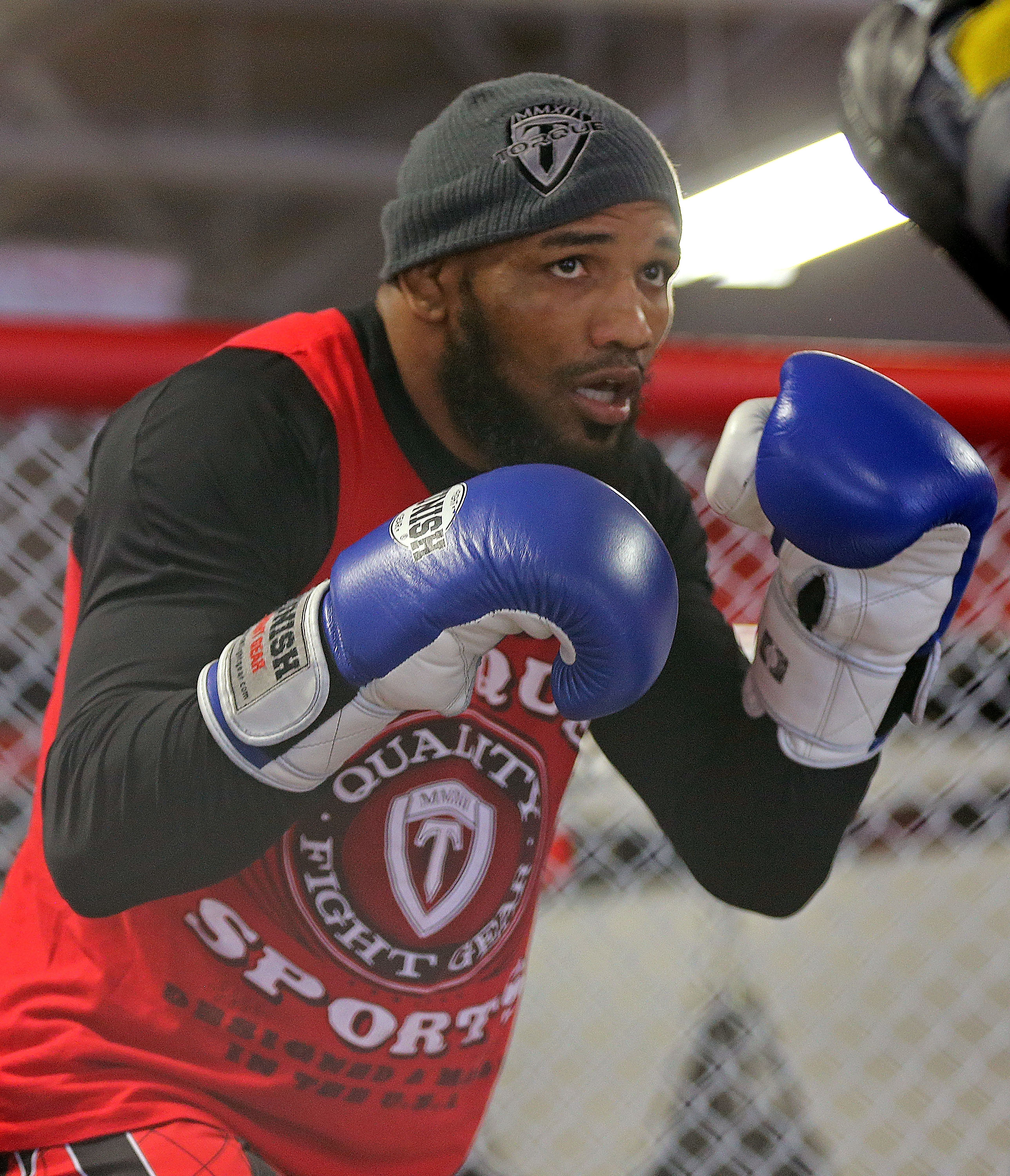 Yoel Romero works out for the public and members of the media at the UFC Gym the ahead of his fight against Lyoto Machida  on June 25, 2015 in Hollywood, Florida.  (Photo by Mike Ehrmann/Zuffa LLC via Getty Images)