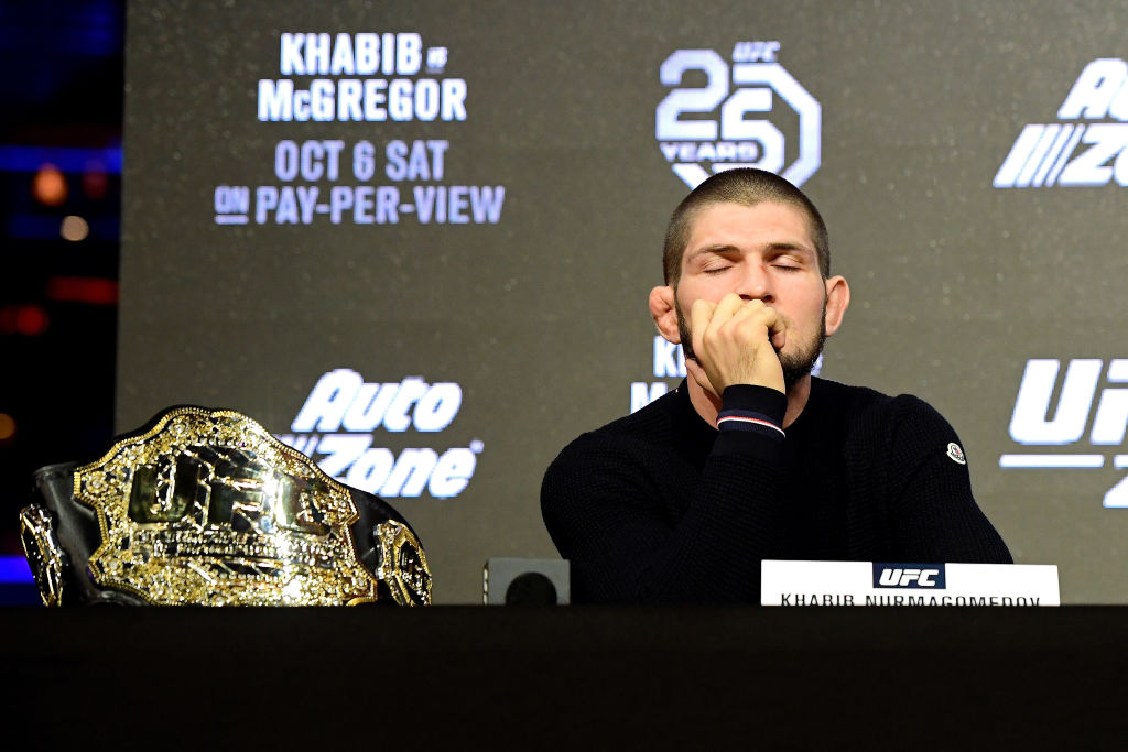 NEW YORK, NY - SEPTEMBER 20: Lightweight Champion Khabib Nurmagomedov reacts during the UFC 229 Press Conference at Radio City Music Hall on September 20, 2018 in New York City.  (Photo by Steven Ryan/Getty Images)