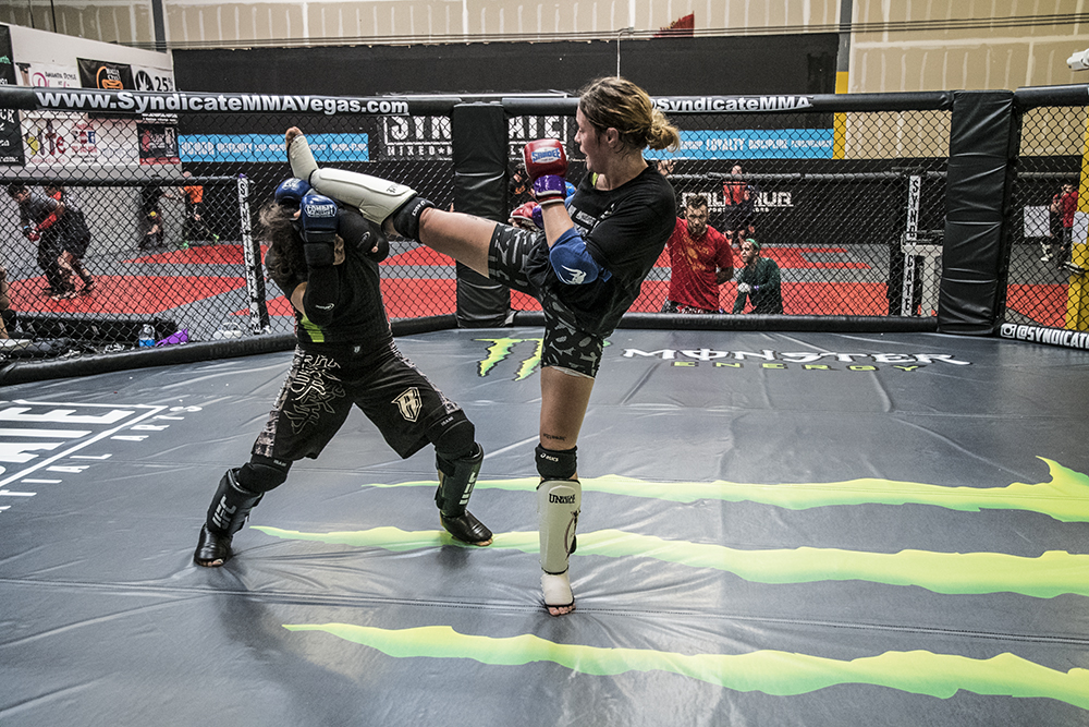 LAS VEGAS 8/9/18 - UFC Fighter Joanne Calderwood during sparring session with Roxanne Modafferi at Syndicate MMA Gym in Las Vegas, preparing for UFC Lincoln. (Photo credit: Juan Cardenas)