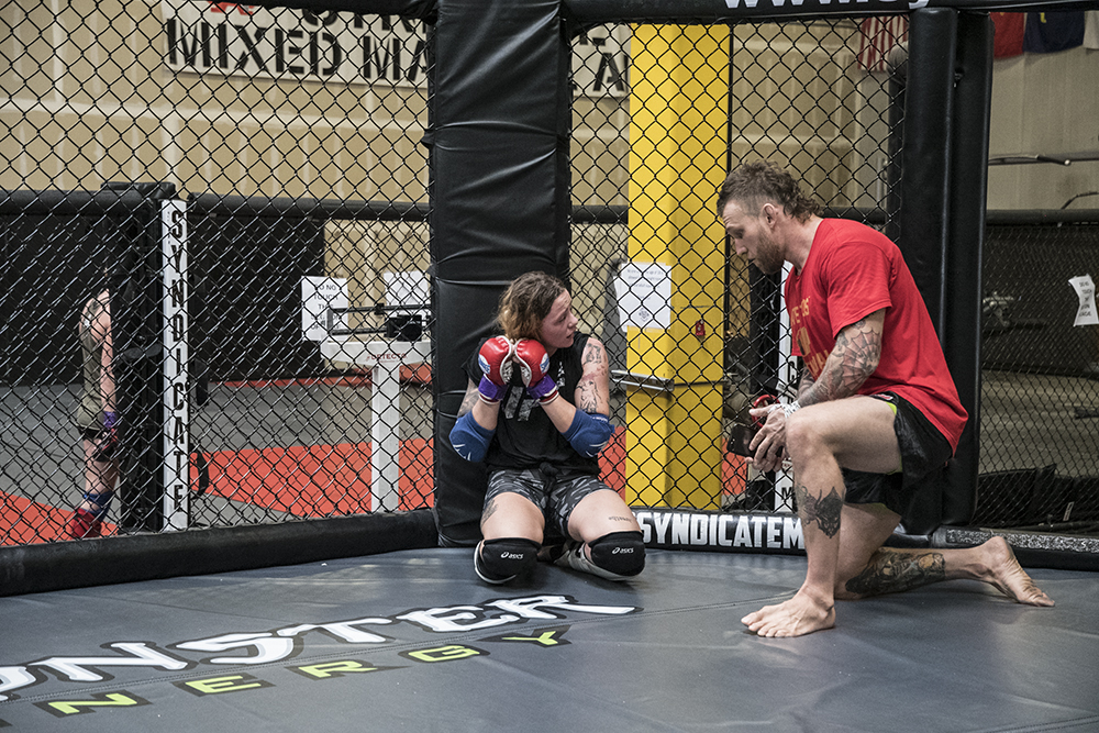 LAS VEGAS 8/9/18 - UFC Fighter Joanne Calderwood talks with her coach John Wood during sparring session with Jessica-Rose Clark at Syndicate MMA Gym in Las Vegas, preparing for UFC Lincoln. (Photo credit: Juan Cardenas)