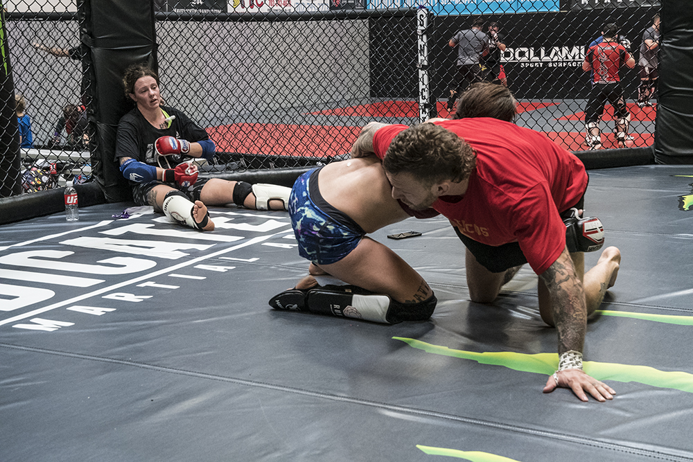 LAS VEGAS 8/9/18 - UFC Fighter Joanne Calderwood after a sparring session with Jessica-Rose Clark and her coach John Wood at Syndicate MMA Gym in Las Vegas, preparing for UFC Lincoln. (Photo credit: Juan Cardenas)