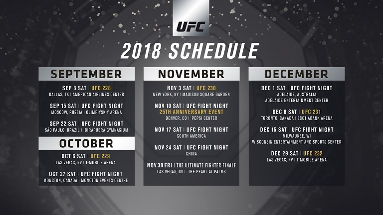 event schedule for rest of 2018 released ufc news