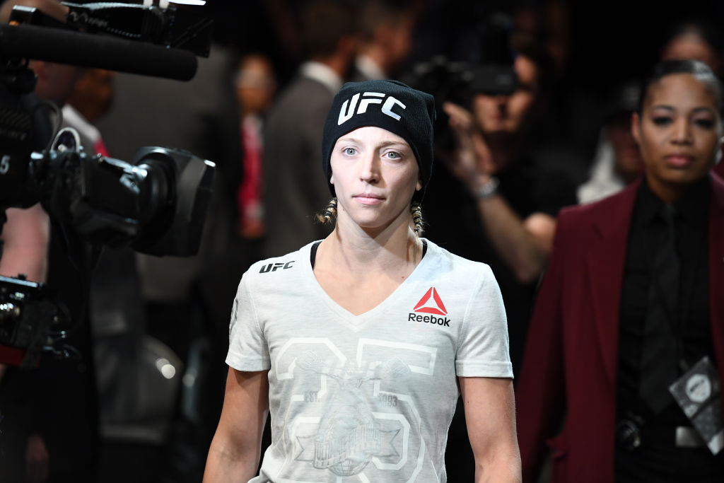 LAS VEGAS, NV - JULY 07: Emily Whitmire walks to the Octagon in their women's strawweight fight during the UFC 226 event inside T-Mobile Arena on July 7, 2018 in Las Vegas, Nevada.  (Photo by Josh Hedges/Zuffa LLC)