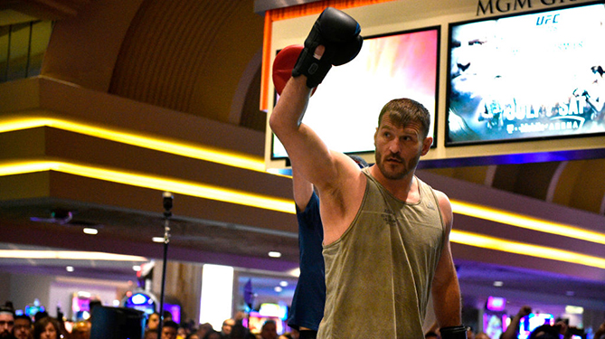 LAS VEGAS, NEVADA - JULY 04: Stipe Miocic holds an open training session for fans and media during the UFC 226 and The Ultimate Fighter Finale Open Workouts at MGM Grand Hotel & Casino on July 4, 2018 in Las Vegas, Nevada. (Photo by Chris Unger/Zuffa LLC/Zuffa LLC via Getty Images)