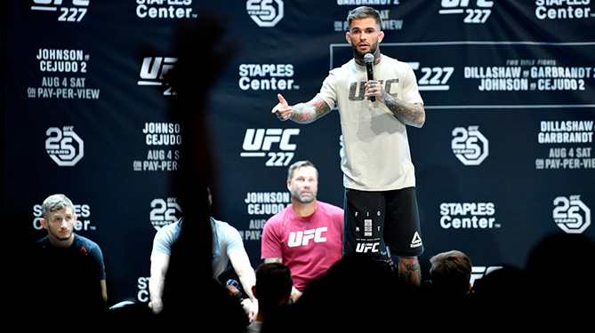 LOS ANGELES, CA - AUGUST 01:  Cody Garbrandt holds an open workout for fans and media at The Novo at LA Live on August 1, 2018 in Los Angeles, California. (Photo by Jeff Bottari/Zuffa LLC/Zuffa LLC via Getty Images)