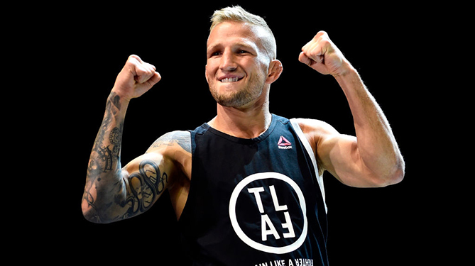 LOS ANGELES, CA - AUGUST 01: UFC bantamweight champion <a href='../fighter/TJ-Dillashaw'>TJ Dillashaw</a> holds an open workout for fans and media at The Novo at LA Live on August 1, 2018 in Los Angeles, California. (Photo by Jeff Bottari/Zuffa LLC/Zuffa LLC via Getty Images)