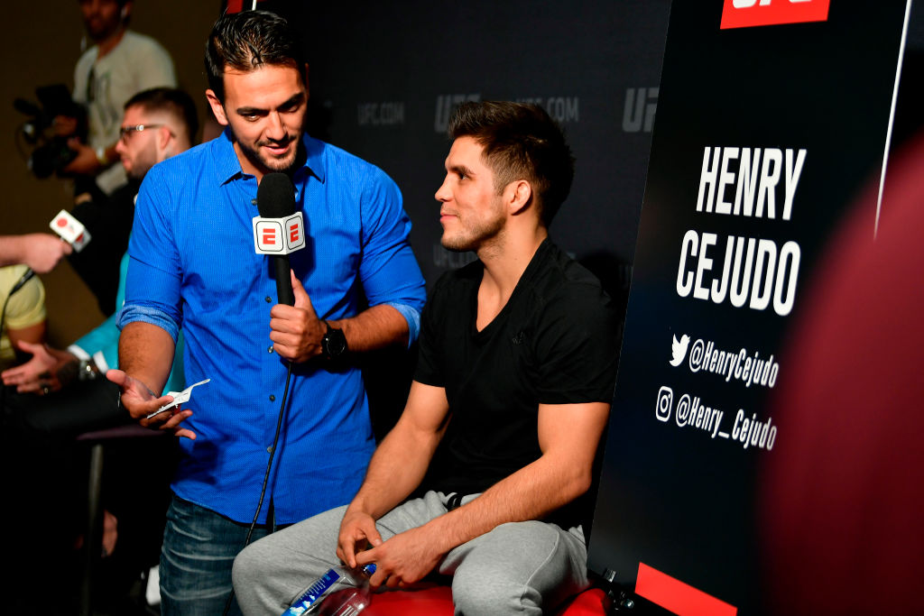 LOS ANGELES, CA - AUGUST 02:  Henry Cejudo interacts with media during the UFC 227 Ultimate Media Day at Sheraton Grand Los Angeles on August 2, 2018 in Los Angeles, California. (Photo by Jeff Bottari/Zuffa LLC/Zuffa LLC via Getty Images)