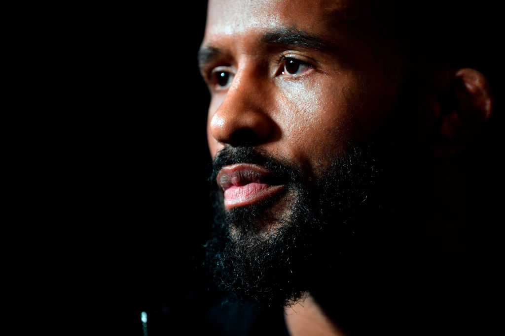 LOS ANGELES, CA - AUGUST 02: UFC flyweight champion <a href='../fighter/Demetrious-Johnson'>Demetrious Johnson</a> interacts with media during the UFC 227 <a href='../event/Ultimate-Brazil'>Ultimate </a>Media Day at Sheraton Grand Los Angeles on August 2, 2018 in Los Angeles, California. (Photo by Jeff Bottari/Zuffa LLC/Zuffa LLC via Getty Images)