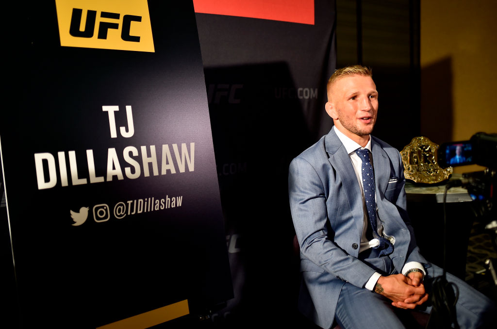 LOS ANGELES, CA - AUGUST 02:  UFC bantamweight champion TJ Dillashaw interacts with media during the UFC 227 Ultimate Media Day at Sheraton Grand Los Angeles on August 2, 2018 in Los Angeles, California. (Photo by Jeff Bottari/Zuffa LLC/Zuffa LLC via Getty Images)