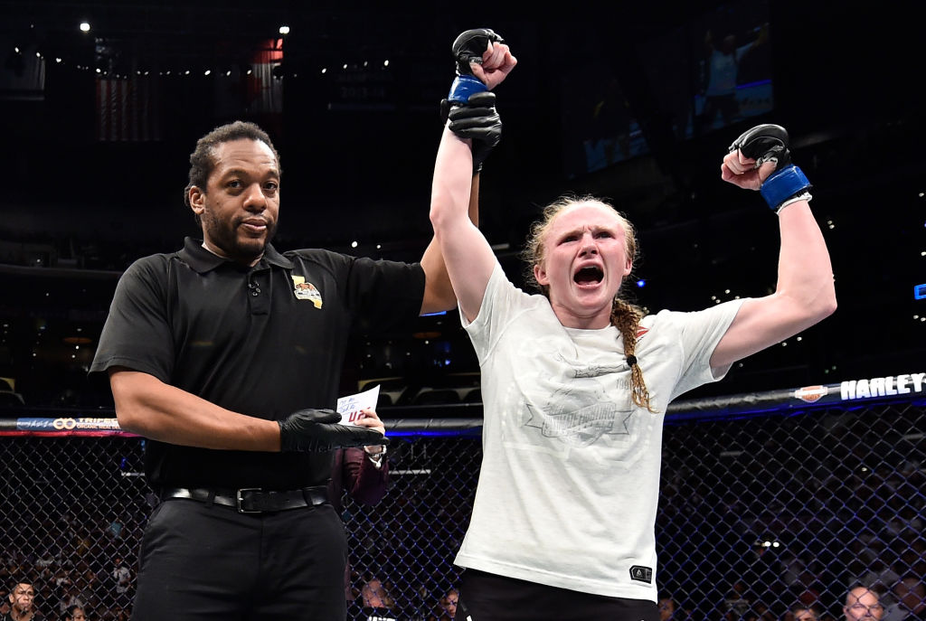 LOS ANGELES, CA - AUGUST 04:  JJ Aldrich celebrates after defeating Polyana Viana of Brazil in their women's strawweight fight during the UFC 227 event inside Staples Center on August 4, 2018 in Los Angeles, California. (Photo by Jeff Bottari/Zuffa LLC/Zuffa LLC via Getty Images)