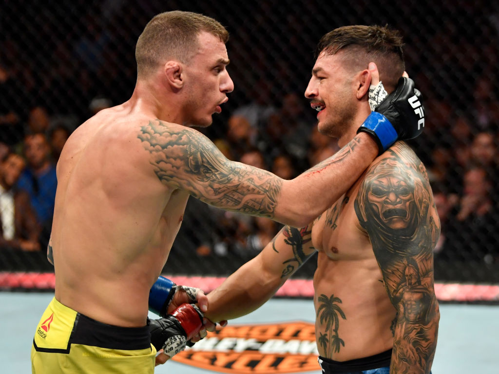 LOS ANGELES, CA - AUGUST 04:  (L-R) Renato Moicano of Brazil and Cub Swanson talk after the conclusion of their featherweight fight during the UFC 227 event inside Staples Center on August 4, 2018 in Los Angeles, California. (Photo by Jeff Bottari/Zuffa LLC/Zuffa LLC via Getty Images)