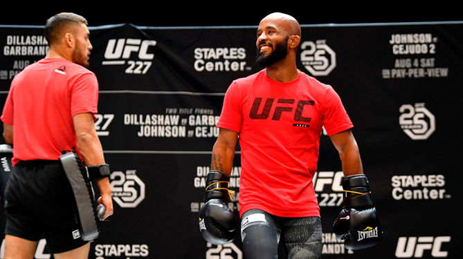 LOS ANGELES, CA - AUGUST 01:  UFC flyweight champion Demetrious Johnson holds an open workout for fans and media at The Novo at LA Live on August 1, 2018 in Los Angeles, California. (Photo by Jeff Bottari/Zuffa LLC/Zuffa LLC via Getty Images)
