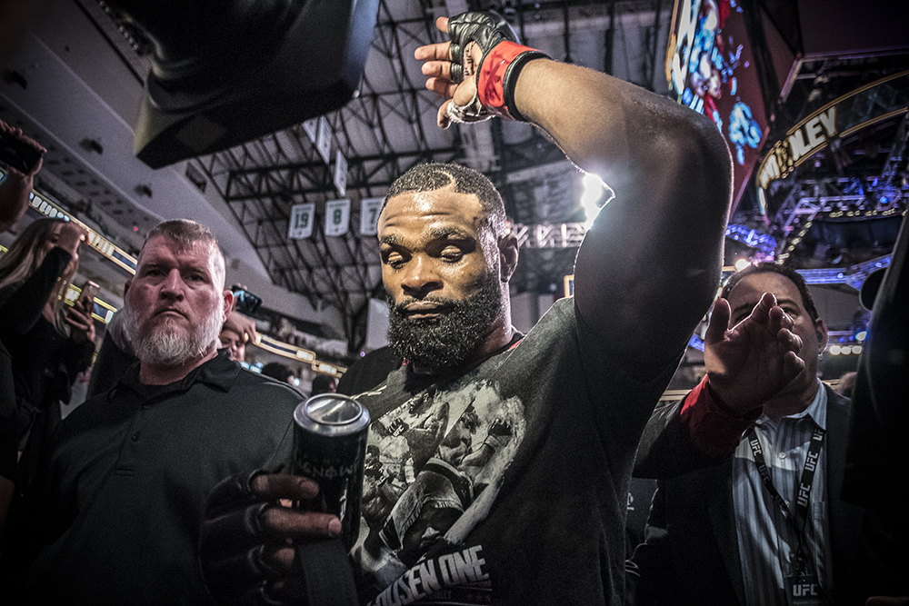 DALLAS, TEXAS 9/8/18 - Tyron Woodley walks out after his victory at UFC 228 at the American Airlines Center in Dallas, Texas. (Photo credit Juan Cardenas)