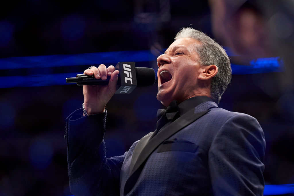 DALLAS, TX - SEPTEMBER 08:  Bruce Buffer introduces the fighters during the UFC 228 event at American Airlines Center on September 8, 2018 in Dallas, Texas. (Photo by Cooper Neill/Zuffa LLC/Zuffa LLC via Getty Images)