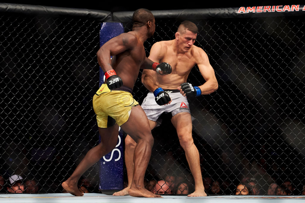 DALLAS, TX - SEPTEMBER 08:  Abdul Razak Alhassan connects with a punch against Niko Price during the UFC 228 event at American Airlines Center on September 8, 2018 in Dallas, Texas. (Photo by Cooper Neill/Zuffa LLC/Zuffa LLC via Getty Images)