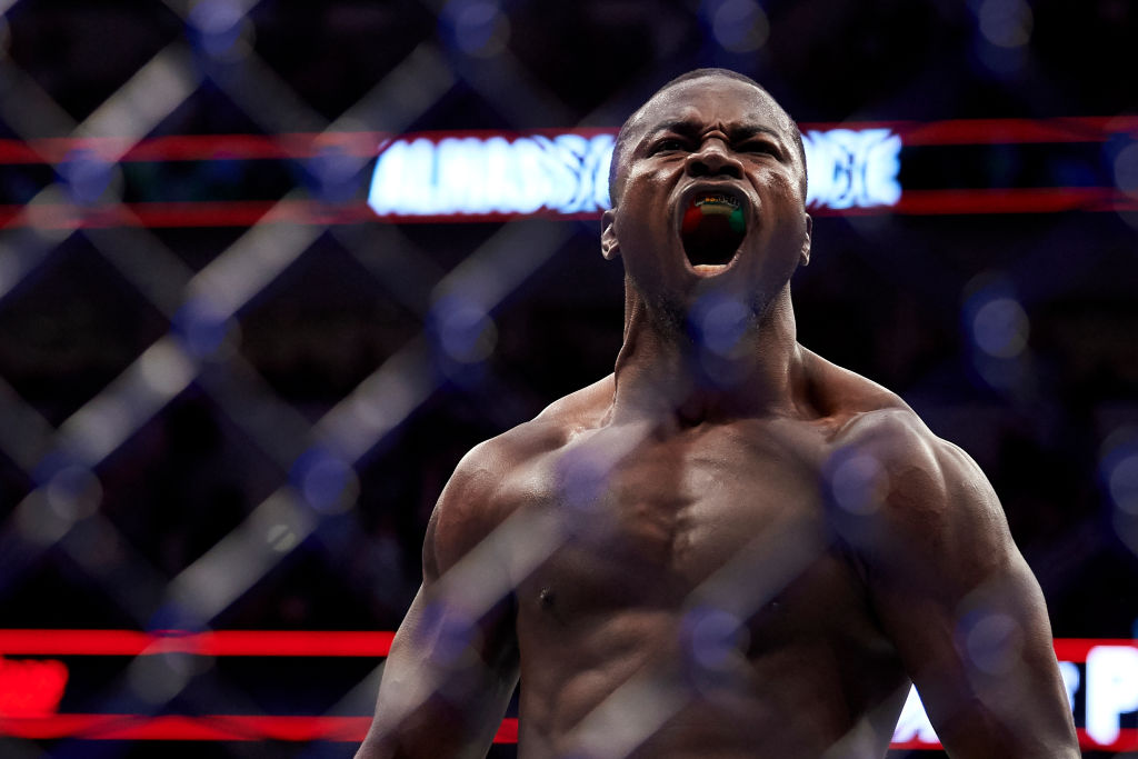 DALLAS, TX - SEPTEMBER 08:  Abdul Razak Alhassan celebrates after defeating Niko Price during the UFC 228 event at American Airlines Center on September 8, 2018 in Dallas, Texas. (Photo by Cooper Neill/Zuffa LLC/Zuffa LLC via Getty Images)