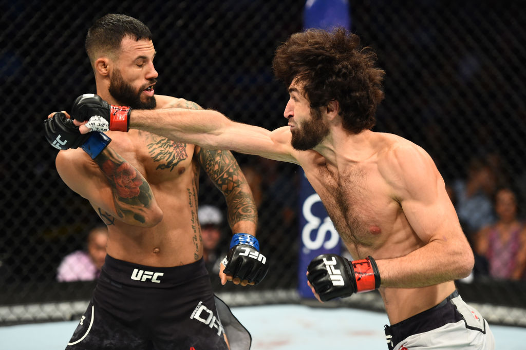 DALLAS, TX - SEPTEMBER 08:  (R-L) Zabit Magomedsharipov of Russia punches Brandon Davis in their featherweight fight during the UFC 228 event at American Airlines Center on September 8, 2018 in Dallas, Texas. (Photo by Josh Hedges/Zuffa LLC/Zuffa LLC via Getty Images)