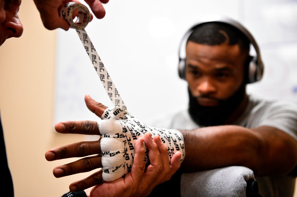 DALLAS, TX - SEPTEMBER 08:  UFC welterweight champion Tyron Woodley gets his hands wrapped backstage during the UFC 228 event at American Airlines Center on September 8, 2018 in Dallas, Texas. (Photo by Mike Roach/Zuffa LLC/Zuffa LLC via Getty Images)