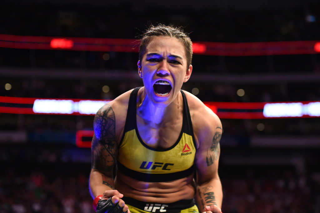 DALLAS, TX - SEPTEMBER 08:  Jessica Andrade of Brazil celebrates after knocking out Karolina Kowalkiewicz of Poland in their women's strawweight fight during the UFC 228 event at American Airlines Center on September 8, 2018 in Dallas, Texas. (Photo by Josh Hedges/Zuffa LLC/Zuffa LLC via Getty Images)