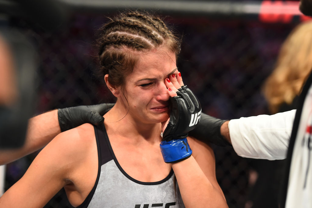 DALLAS, TX - SEPTEMBER 08:  Karolina Kowalkiewicz of Poland reacts after her loss to Jessica Andrade of Brazil in their women's strawweight fight during the UFC 228 event at American Airlines Center on September 8, 2018 in Dallas, Texas. (Photo by Josh Hedges/Zuffa LLC/Zuffa LLC via Getty Images)