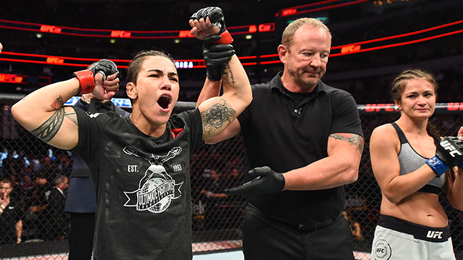 DALLAS, TX - SEPTEMBER 08:  (L-R) Jessica Andrade of Brazil celebrates after defeating Karolina Kowalkiewicz of Poland in their women's strawweight fight during the UFC 228 event at American Airlines Center on September 8, 2018 in Dallas, Texas. (Photo by Josh Hedges/Zuffa LLC/Zuffa LLC via Getty Images)