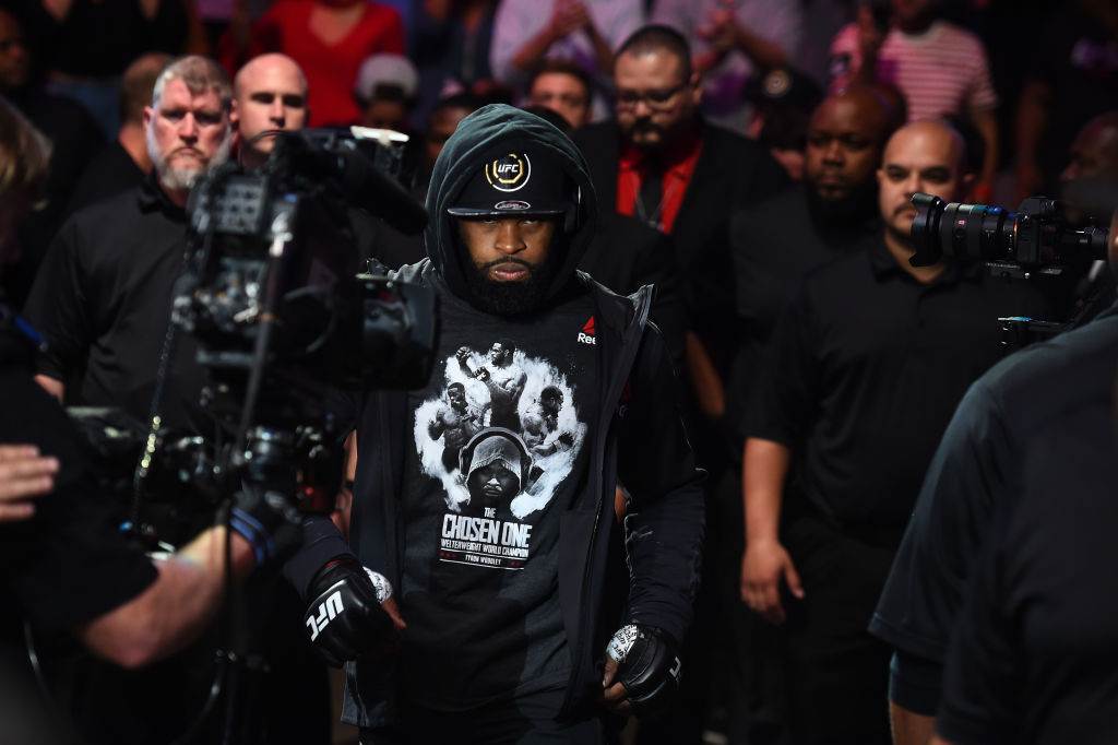 DALLAS, TX - SEPTEMBER 08:  Tyron Woodley enters the arena prior to facing Darren Till of England in their UFC welterweight championship fight during the UFC 228 event at American Airlines Center on September 8, 2018 in Dallas, Texas. (Photo by Josh Hedges/Zuffa LLC/Zuffa LLC via Getty Images)