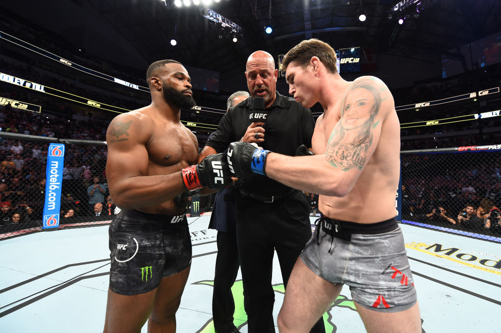 DALLAS, TX - SEPTEMBER 08:  (L-R) Tyron Woodley and Darren Till of England touch gloves prior to their UFC welterweight championship fight during the UFC 228 event at American Airlines Center on September 8, 2018 in Dallas, Texas. (Photo by Josh Hedges/Zuffa LLC/Zuffa LLC via Getty Images)