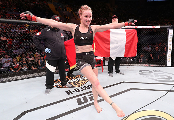 BELEM, BRAZIL - FEBRUARY 03: <a href='../fighter/Valentina-Shevchenko'>Valentina Shevchenko</a> of Kyrgyzstan celebrates her victory over <a href='../fighter/Priscila-Cachoeira'>Priscila Cachoeira</a> of Brazil in their women's flyweight bout during the <a href='../event/UFC-Silva-vs-Irvin'>UFC Fight Night </a>event at Mangueirinho Arena on February 03, 2018 in Belem, Brazil. (Photo by Buda Mendes/Zuffa LLC/Zuffa LLC via Getty Images)