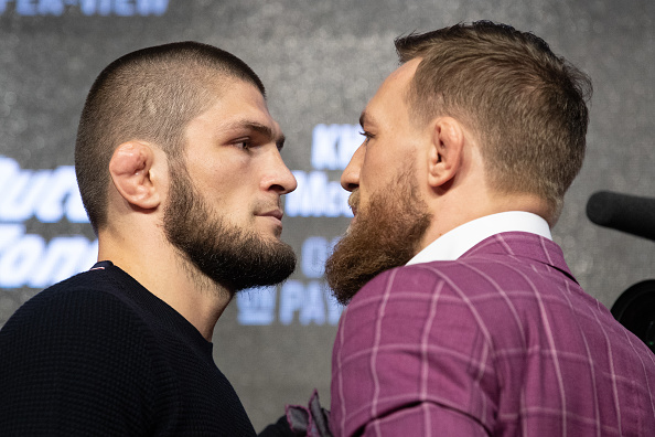 NEW YORK, NY - SEPTEMBER 20: UFC lightweight champion Khabib Nurmagomedov (L) and Conor McGregor (R) face off after the UFC 229 press conference at Radio City Music Hall on September 20, 2018 in New York, NY. The two will meet in the main event on October 6, 2018 at the T-Mobile Arena in Las Vegas, Nevada. (Photo by Ed Mulholland/Zuffa LLC/Zuffa LLC via Getty Images)