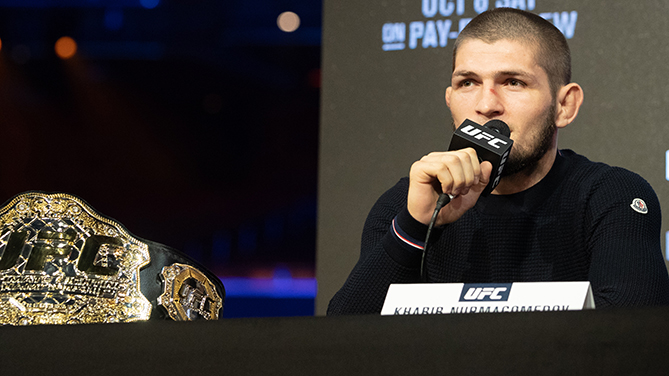NEW YORK, NY - SEPTEMBER 20: UFC lightweight champion Khabib Nurmagomedov speaks at the UFC 229 press conference at Radio City Music Hall on September 20, 2018 in New York, NY. Nurmagomedov will face Conor McGregor in the main event on October 6, 2018 at the T-Mobile Arena in Las Vegas, Nevada. (Photo by Ed Mulholland/Zuffa LLC/Zuffa LLC via Getty Images)