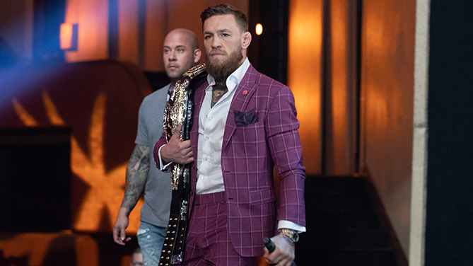 NEW YORK, NY - SEPTEMBER 20: Conor McGregor walks to the stage for the UFC 229 press conference at Radio City Music Hall on September 20, 2018 in New York, NY. McGregor will face UFC lightweight champion Khabib Nurmagomedov in the main event on October 6, 2018 at the T-Mobile Arena in Las Vegas, Nevada. (Photo by Ed Mulholland/Zuffa LLC/Zuffa LLC via Getty Images)