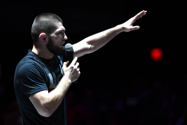LAS VEGAS, NV - OCTOBER 03:  Khabib Nurmagomedov of Russia holds an open workout for fans and media at The Park Theatre at Park MGM on October 3, 2018 in Las Vegas, Nevada. (Photo by Jeff Bottari/Zuffa LLC via Getty Images)