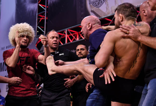 LAS VEGAS, NV - OCTOBER 05:  (L-R) Opponents Khabib Nurmagomedov of Russia and Conor McGregor of Ireland face off during the UFC 229 weigh-in inside T-Mobile Arena on October 5, 2018 in Las Vegas, Nevada. (Photo by Brandon Magnus/Zuffa LLC via Getty Images)