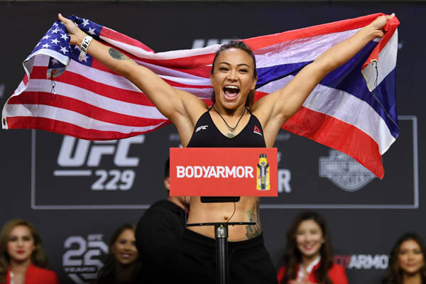 LAS VEGAS, NV - OCTOBER 05:  Michelle Waterson poses on the scale during the UFC 229 weigh-in inside T-Mobile Arena on October 5, 2018 in Las Vegas, Nevada. (Photo by Josh Hedges/Zuffa LLC via Getty Images)