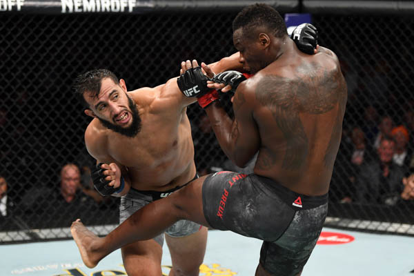LAS VEGAS, NV - OCTOBER 06:  Dominick Reyes punches Ovince Saint Preux in their light heavyweight bout during the UFC 229 event inside T-Mobile Arena on October 6, 2018 in Las Vegas, Nevada.  (Photo by Josh Hedges/Zuffa LLC)