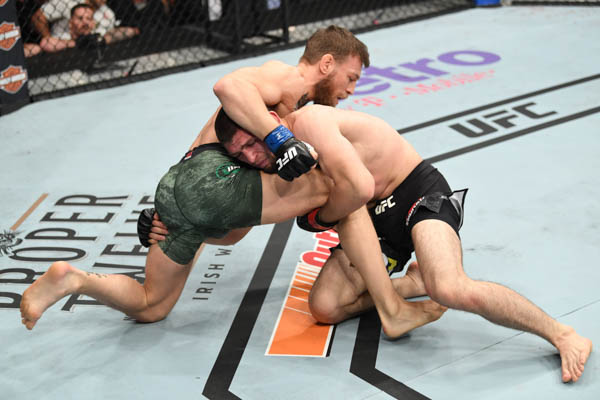 LAS VEGAS, NV - OCTOBER 06: Conor McGregor of Ireland and Khabib Nurmagomedov of Russia grapple  in their UFC lightweight championship bout during the UFC 229 event inside T-Mobile Arena on October 6, 2018 in Las Vegas, Nevada.  (Photo by Josh Hedges/Zuffa LLC)