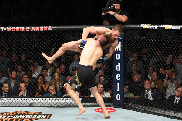 LAS VEGAS, NV - OCTOBER 06: Khabib Nurmagomedov of Russia attempts a takedown of Conor McGregor of Ireland in their UFC lightweight championship bout during the UFC 229 event inside T-Mobile Arena on October 6, 2018 in Las Vegas, Nevada.  (Photo by Josh Hedges/Zuffa LLC)