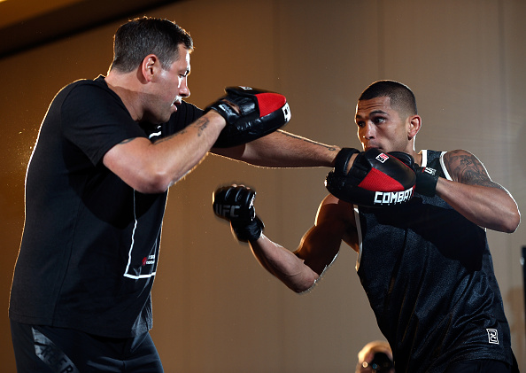 VANCOUVER, BC - AUGUST 25: (R-L) <a href='../fighter/Anthony-Pettis'>Anthony Pettis</a> spars with coach Duke Roufus during an open workout session for media and fans at the Hyatt Regency Vancouver on August 25, 2016 in Vancouver, Canada. (Photo by Jeff Bottari/Zuffa LLC/Zuffa LLC via Getty Images)