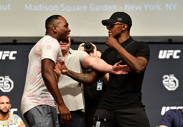 LOS ANGELES, CA - AUGUST 03: (L-R) Opponents <a href='../fighter/Derek-Brunson'>Derek Brunson</a> and <a href='../fighter/Israel-Adesanya'>Israel Adesanya</a> face off during the UFC press conference inside the Orpheum Theater on August 3, 2018 in Los Angeles, California. (Photo by Jeff Bottari/Zuffa LLC via Getty Images)
