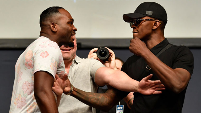 (L-R) Opponents Derek Brunson and Israel Adesanya (Photo by Jeff Bottari/Zuffa LLC)