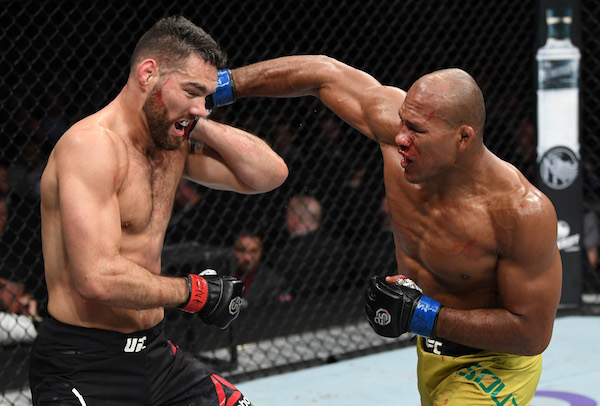NEW YORK, NY - NOVEMBER 03:  (R-L) <a href='../fighter/Ronaldo-Souza'>Ronaldo Souza</a> of Brazil punches <a href='../fighter/Chris-Weidman'>Chris Weidman</a> in their middleweight bout during the UFC 230 event inside Madison Square Garden on November 3, 2018 in New York, New York. (Photo by Jeff Bottari/Zuffa LLC via Getty Images)