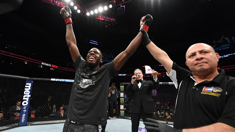 DENVER, CO - NOVEMBER 10:  Devonte Smith celebrates after knocking out Julian Erosa in their lightweight bout during the UFC Fight Night event inside Pepsi Center on November 10, 2018 in Denver, Colorado. (Photo by Josh Hedges/Zuffa LLC/Zuffa LLC via Getty Images)