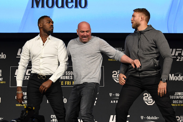 NEW YORK, NEW YORK - NOVEMBER 02:  (L-R) Opponents <a href='../fighter/Jon-Jones'>Jon Jones</a> and <a href='../fighter/Alexander-Gustafsson'>Alexander Gustafsson</a> of Sweden face off during the UFC 232 press conference inside Hulu Theater at Madison Square Garden on November 2, 2018 in New York, New York. (Photo by Jeff Bottari/Zuffa LLC via Getty Images)