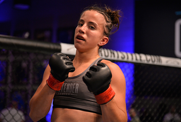 "LAS VEGAS, NV - JULY 17: <a href='../fighter/Maycee-Barber'></noscript>Maycee Barber</a> celebrates her victory over <a href='../fighter/Jamie-Colleen'>Jamie Colleen</a> in their womens strawweight fight during Dana White's Tuesday Night Contender Series at the TUF Gym on July 17, 2018 in Las Vegas, Nevada. (Photo by Chris Unger/DWTNCS LLC)&#8221; align=&#8221;center&#8221;/><br />It's an exchange repeated throughout boxing history, so many times that it's impossible to pin down to one pugilist, but it still sounds cool whenever it is brought back.</p> <p>""Champ, when did you know you had your opponent in trouble?""</p> <p>""When he signed the contract.""</p> <p>That brings us to Maycee Barber, the newest member of the UFC's strawweight roster. The 20-year-old earned that contract with a July 17 stoppage of Jamie Colleen on Dana White's Tuesday Night Contender Series. So Maycee, when did you know you had the UFC contract?</p> <p>""I knew I had the contract before I even had the fight,"" she said. ""When I was told I was going on the Contender Series, I said I'm not just going in to win a fight; I'm gonna win a fight, but I'm also going here to get the contract.</p> <p>""I'm gonna treat every fight the same, like that person's the best in the world,"" Barber continues. ""But my <a href="