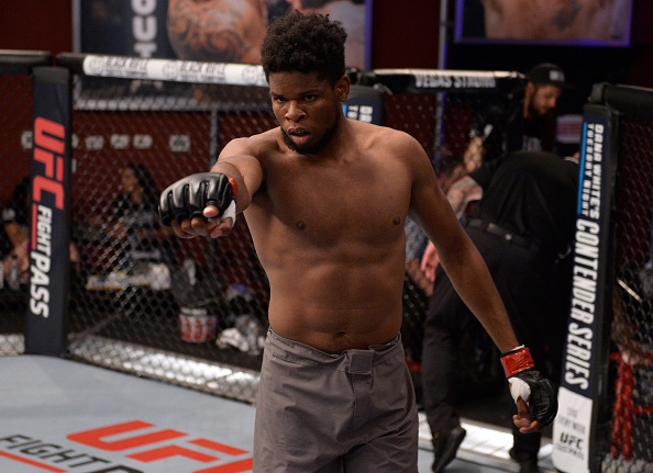 LAS VEGAS, NV - AUGUST 07: <a href='../fighter/Kennedy-Nzechukwu'>Kennedy Nzechukwu</a> celebrates after his TKO victory over <a href='../fighter/Dennis-Bryant'>Dennis Bryant</a> in their light heavyweight fight during Dana White's Tuesday Night Contender Series at the TUF Gym on August 7, 2018 in Las Vegas, Nevada. (Photo by Chris Unger/DWTNCS LLC)