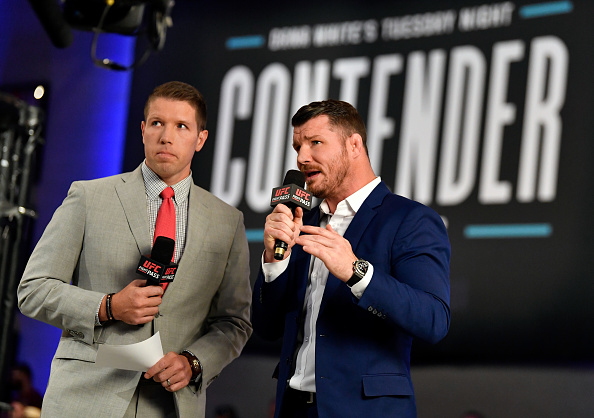 LAS VEGAS, NV - JUNE 12: (L-R) The broadcast team of Brendan Fitzgerald and Michael Bisping introduce season two of Dana White's Tuesday Night Contender Series at the TUF Gym on June 12, 2018 in Las Vegas, Nevada. (Photo by Jeff Bottari/DWTNCS LLC)